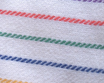 2.58 yards VTG fabric: white Wool, candy striped