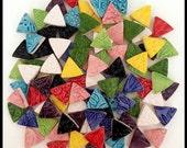 100 Handmade TRIANGLE MOSAIC Tiles