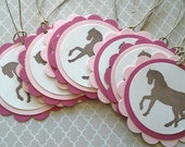 Horse gift tags, horse favor tags, horse birthday party labels - Set of 10 tags