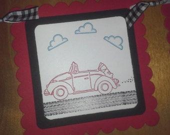 Car Birthday Banner, Car Baby Shower Banner, Vehicle banner, transportation banner, car sign