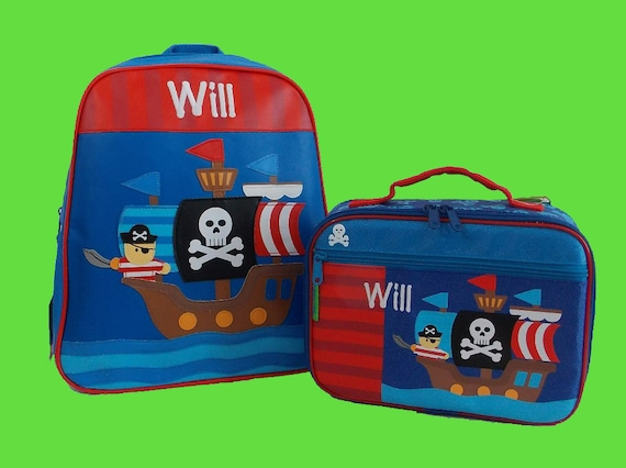 Child's Personalized Stephen Joseph GoGo PIRATE Themed Backpack and Lunchbox School Set-Monogramming Included In Price