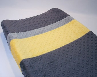 Titanium Gray Changing Pad Cover with Stripes