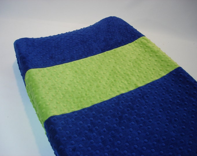 Sapphire Blue Changing Pad Cover with Stripe