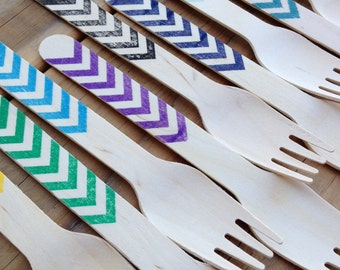 Chevron Stamped Wood Cutlery Disposable Forks Spoons Knives
