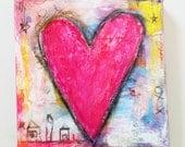 Hot Pink Mini Heart Canvas