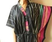 Dark Blue Striped Nursing Kaftan Pajamas to live in beachwear Caftan, spa robe..make great Anniversary or Birthday gifts, new mom Gift