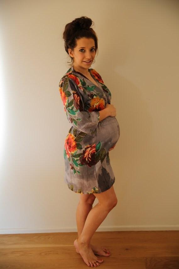 New String Robe Gray Knee Length Maternity Hospital Gown