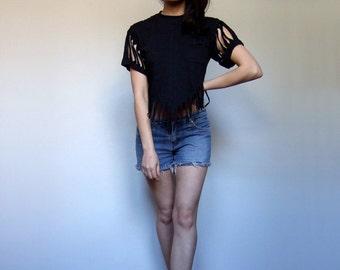 80s Black Crop Top Ripped Torn Tee Shredded Summer Shirt Fringe Boho Hipping T shirt Short Sleeve Tshirt - Extra Small Medium XS S M