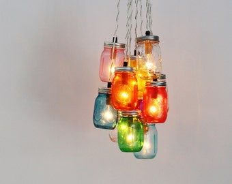 MASON JAR CHANDELIER Cluster - Upcycled Hanging Chandelier Lighting Fixture Featuring 10 Rainbow Pint Jars - BootsNGus Lighting & Home Decor