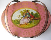 Shabby Chic Sewing Tin, Pink and Gold, Colonial Courting Couple