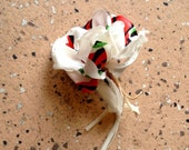1930s textile silk print flower pin back brooch
