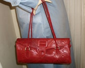 1970s Hand Tooled Red Leather Satchel Purse LL Leaders Label Unusual Buckle Front