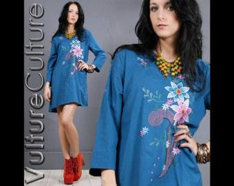 Vintage 70s Blue Floral Hippie Boho Embroidered Gypsy Festival Mini Caftan Dress S/M