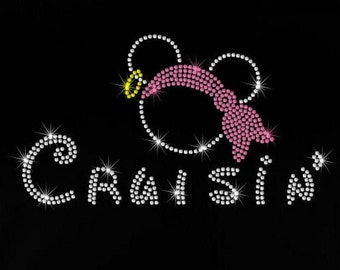 9.7 Disney Cruise Cruisin' Pirate Mickey Minnie iron on rhinestone Disney bling transfer for t shirt your color choice