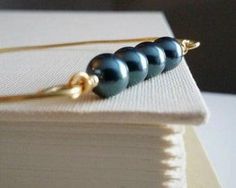 Tahitian Blue Pearl . Brass Stacking Bangle