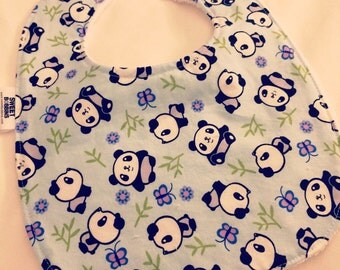 Pandas - Infant or Toddler Bib - Terry Cloth Backing - Reversible with ADJUSTABLE Snaps