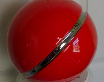 Vintage 1985 JARU Red and Black Ceramic Pokeman Ball Like Sculpture