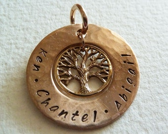 Special listing for Melinda. Stamped personalised tree of life name pendant in bronze, customised pendant only.