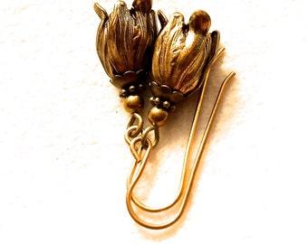 Antiqued brass flower earrings, oxidized brass flower drops, flower drops, brass flower dangles