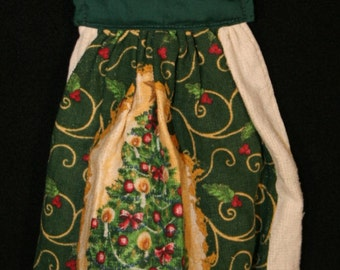 Cloth Sewn top Christmas terry towel, Christmas Tree