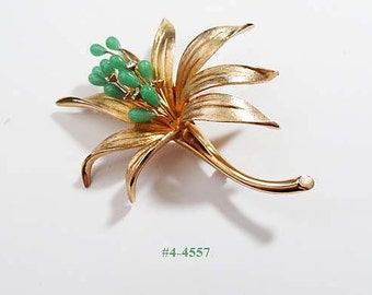FREE SHIP Gold Filled Or Plated Flower With Faux Jade and Rhinestones Brooch (4-4557)