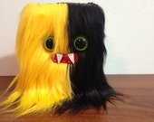 Yellow & Black Striped Mini-Monster Journal- Two Green Eyes