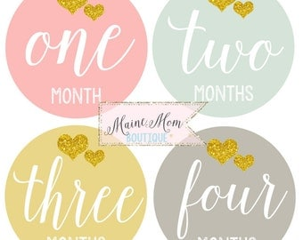 FREE GIFT, Baby Girl Monthly Stickers, Baby Girl Month Stickers, Gold Hearts,  Milestone Stickers, Bodysuit Stickers,  Gift Nursery Decor