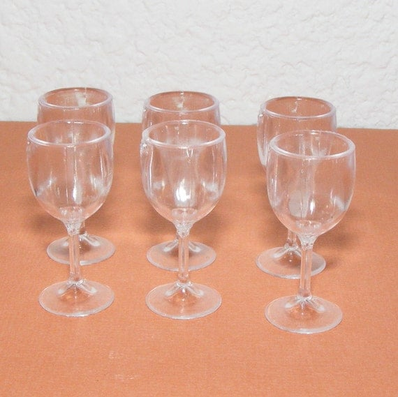 6 Barbie Size Wine Glasses 6 1 3 8 Tall Plastic By
