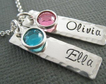 Personalized Necklace - Hand Stamped Sterling Silver Custom Jewelry - Two Tags with Swarovski Crystals