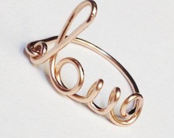 Rose Gold Love Ring   Rose Gold Ring   Rose Gold Love Word Ring  14K Rose Gold Filled Ring  Valentines Love Ring  Valentines Jewelry