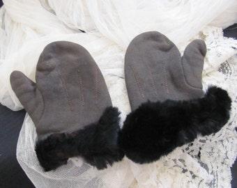 Antique Vintage Brown Child's Mittens Fur Snap Gloves