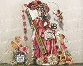 Valentine Card Or Party Decoration - INSTANT Download - French Valentine Scribe And fairy, Cherubs MA22V