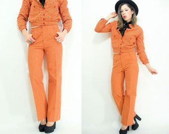 SALE...Vintage 70's ANNE KLEIN 2 Piece Matching Set Gingham Suit / Hip Hugger Bell Bottoms + Jacket Matching Set