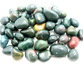 FOUR small Bloodstone Tumbled Stones, Premium, Grounding, Protection, Crystal Grids, Reiki, Wicca, Gemstones