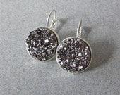 Sparkling Gray Druzy Drop Earrings // Silver //
