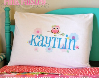 Personalized Owl Pillowcase Standard or Toddler/Travel Size