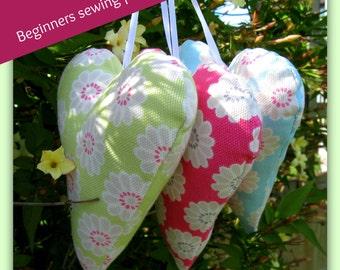 PDF Beginners Sewing Pattern Fabric Hearts