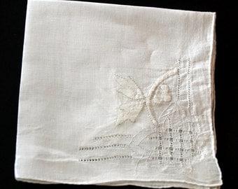Leaves on a Twig Handworked Ladies Handkerchief