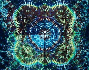 "Bargain Bin 77""x58"" Large Tie Dye Tapestry Made in USA  green blue purple by Emeraldsprings"