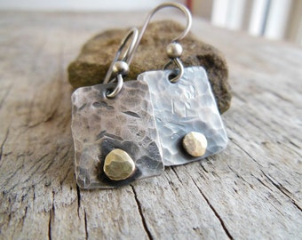 Sterling Silver Dangle Earrings, Rustic Silver Earrings, Earrings for women