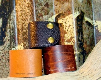"Bison Leather Large Leather Supply - 2"" x 9""  Leather Cuffs - Adjustable Snaps -Pick Your Cuff Colors - Pick Your Snaps"