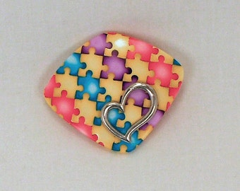 Autism Awareness Brooch - Polymer Clay