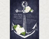 anchor printable wedding invitation digital chalkboard nautical floral roses bridal shower invite modern diy stationery anchors away custom