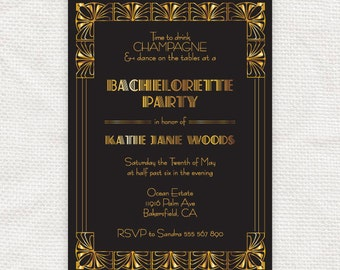 gorgeous gatsby bachelorette party invitation - printable - 1920s bridal shower art deco black and gold invite hens night hollywood glamor