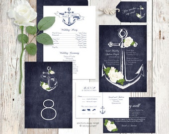 wedding invitation suite printable nautical rose floral sea invite, reception decor or ceremony package set diy - anchors away/aweigh design