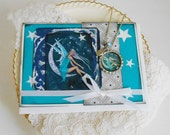 """Fairy Bottlecap Necklace  and Greeting Card Set """"Turquoise Star Fairy"""" ----Ready To Give Gift"""