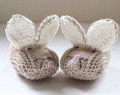 Baby Bunny Slippers - Beige with ivory inner ears - in Cashmerino - Made to Order - Choose Size