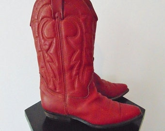 80s RED  leather COWBOY BOOTS size 6.5