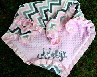 Baby Girl Blanket, Minky Chevron Pink,Silver,Gray,Pink Minky Dot,Satin Ruffle,Personalized,Applique,Baby Girl,Toddler,Crib,Teen,Adult