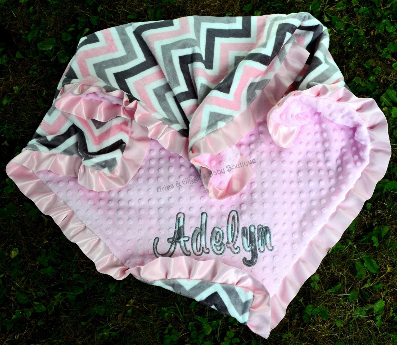 Baby Girl Blanket Minky Chevron Pinksilvergraypink Minky